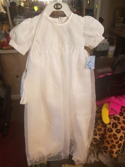 BRAND NEW CORRINE BRAND NB-3 MON & UP TO 6 MON. BAPTISMAL CHRISTENING BABY GIRL DRESS WITH TAGS STILL IN PLASTIC Thumbnail