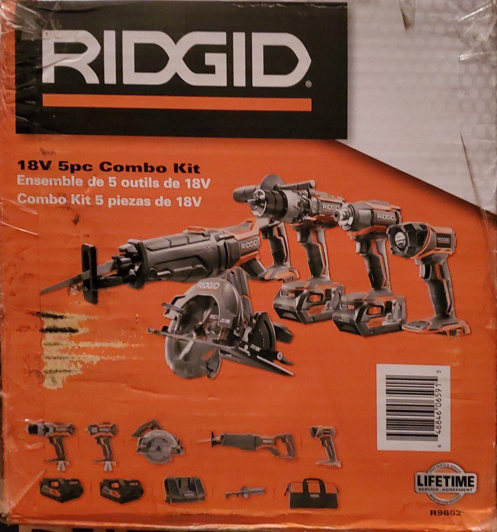 Ridgid 5pc Combo Kit Lithium Cordless Brand New
