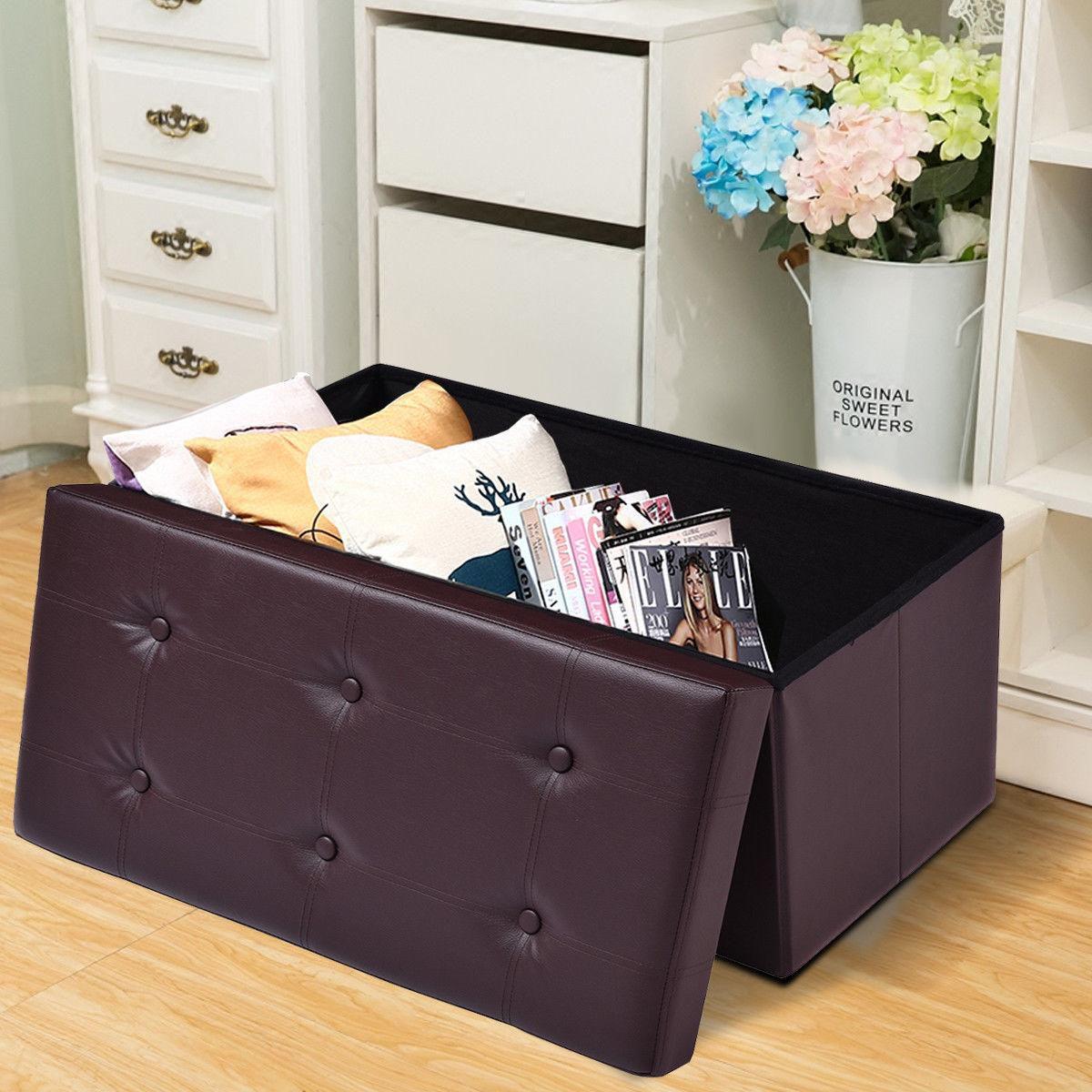 "Costway 30""x15""x15"" Large Folding Storage Faux Leather Ottoman Pouffe Box Stool (Brown)"