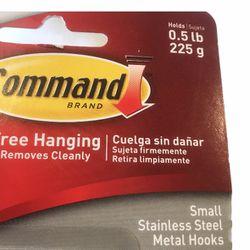 3M Command Stainless Steel Metal Hooks 0.5Lb Damage Free Wall Hanging 1PK-4CT Thumbnail