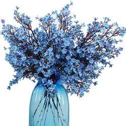 Cloth Artificial Flowers 6 Bundle European, Color: Blue-6pcs Thumbnail