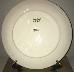 """Handmade 11"""" Clay Pottery Art Cow Pattern Dinner Plate Dish Signed Thumbnail"""