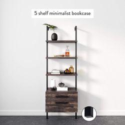 Matte Steel Frame Industrial Bookshelf with Wood Drawers, 3-Shelf, Nutmeg/Black Thumbnail