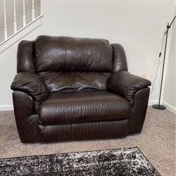 Oversized Faux Leather Recliner Thumbnail