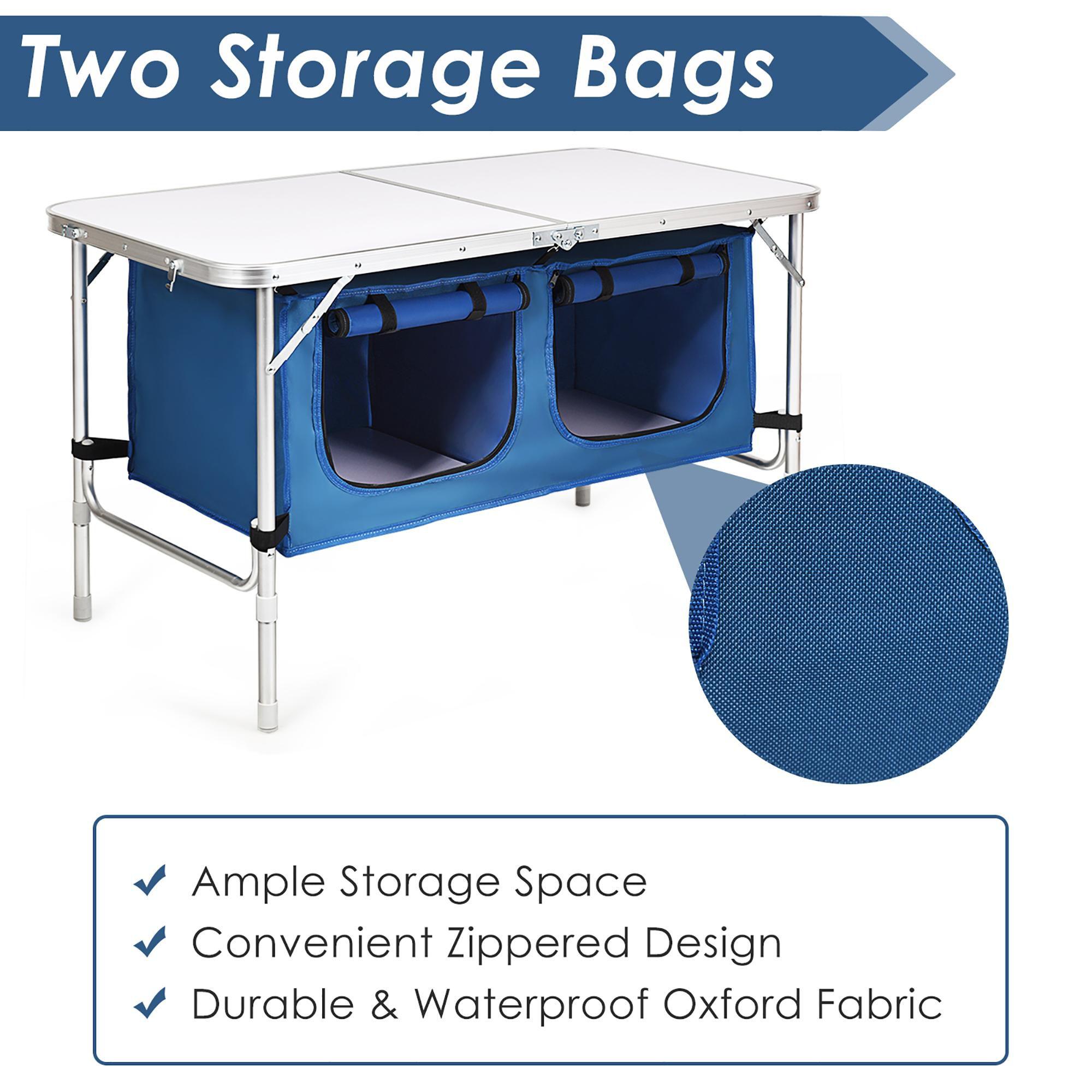 Costway Adjustable Camping Table Aluminum w/ Storage Organizer Dark Blue