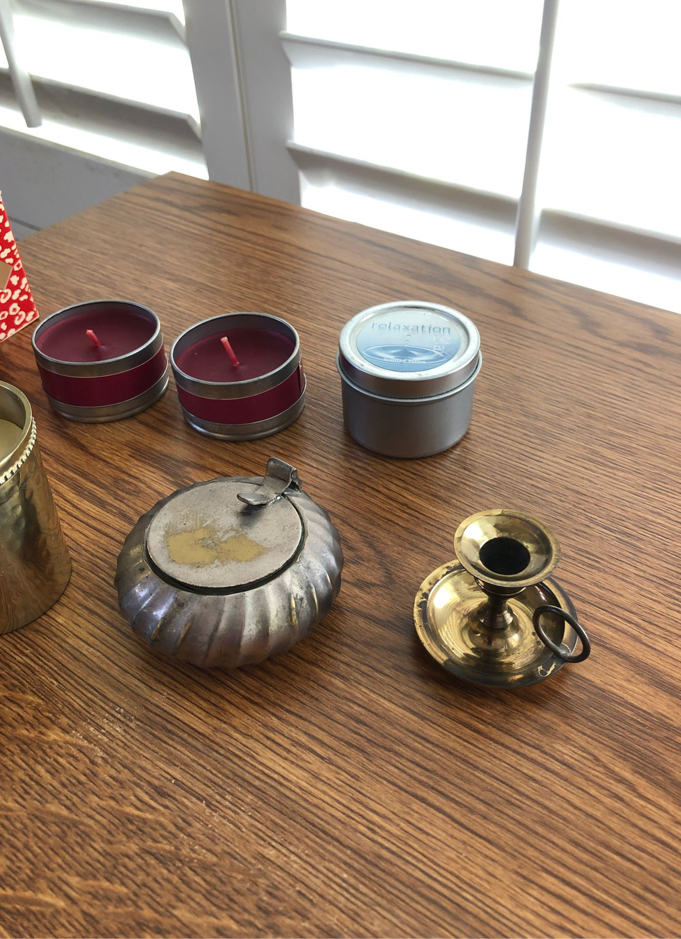 Brass and silver candle holders