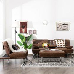 Gymax 3-Piece Sectional Sofa Set Convertible Futon w/Single Sofa & Ottoman Brown Thumbnail