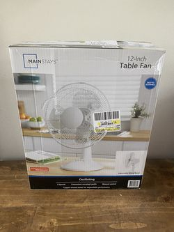"""Mainstays 12"""" 3-Speed Oscillating Table Fan, Model## FT30-8MBW, White Thumbnail"""