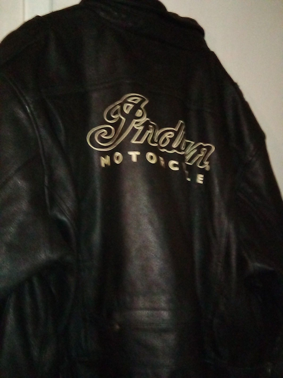 2X black leather Indian motorcycle jacket