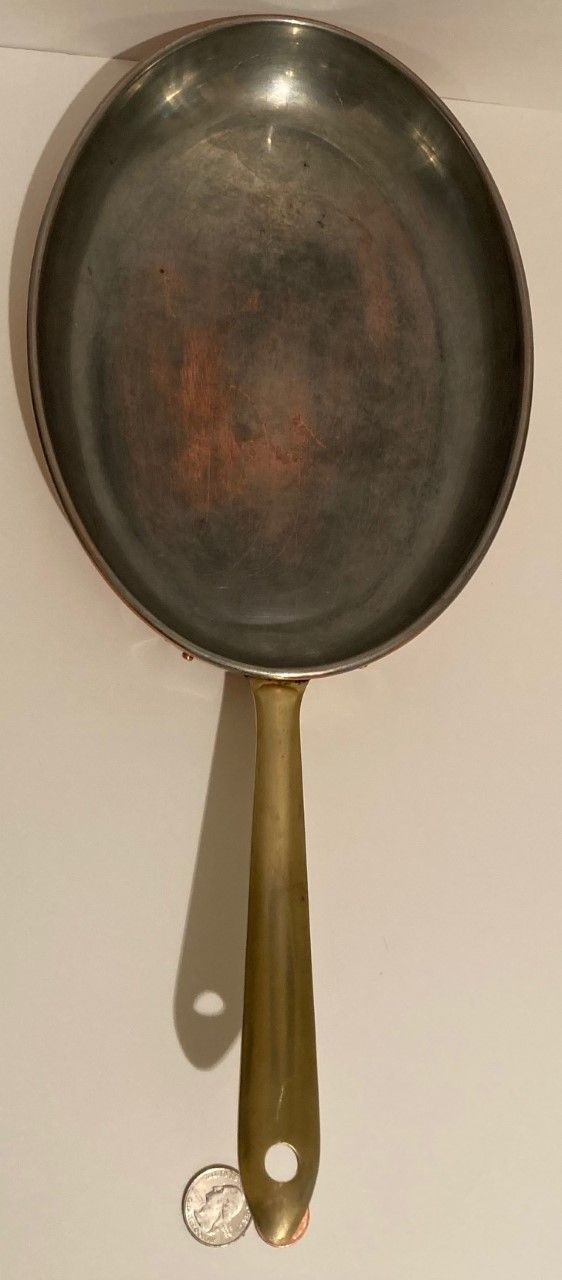 """Vintage Copper and Brass Fish Frying Pan, Sauce Pan, 19"""" Long and 10"""" x 8"""" Pan Size, Made in Portugal, Quality, Laura Design, Fish Pan, Cooking Pan"""