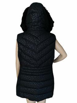 NWT Michael Kors Faux Fur Trim Hooded Short Embossed Vest Thumbnail