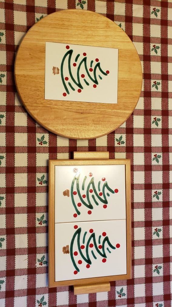 Christmas Tree Lazy Susan and Trivet/Cutting Board