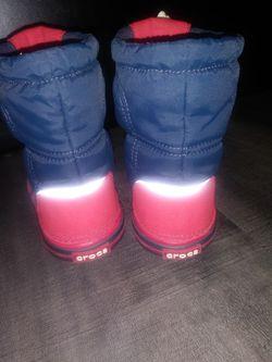 CROCS 7c Red+Blue Rain+Snow Boots Thumbnail