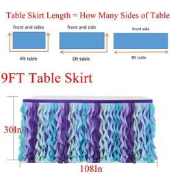 Mermaid Curly Willow Table Skirting for Baby Shower Purple 9ftTaffeta Table Skirt Tutu Tulle Table Skirt for Round or Rectangle Table Thumbnail