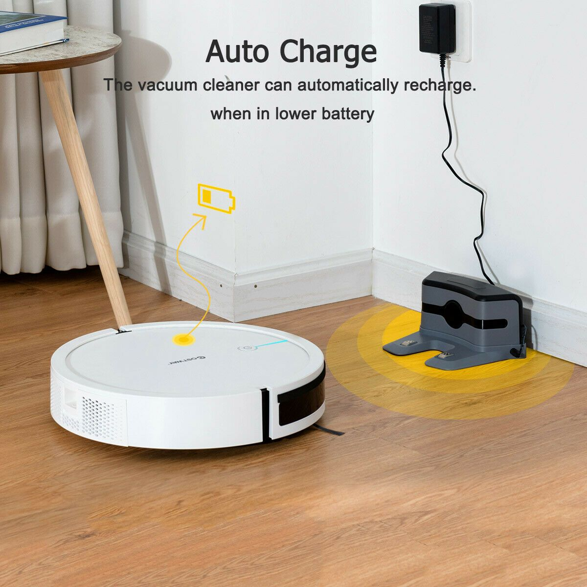Costway Robot Vacuum Cleaner Self-Charge App Voice Control Filter Water Tank White