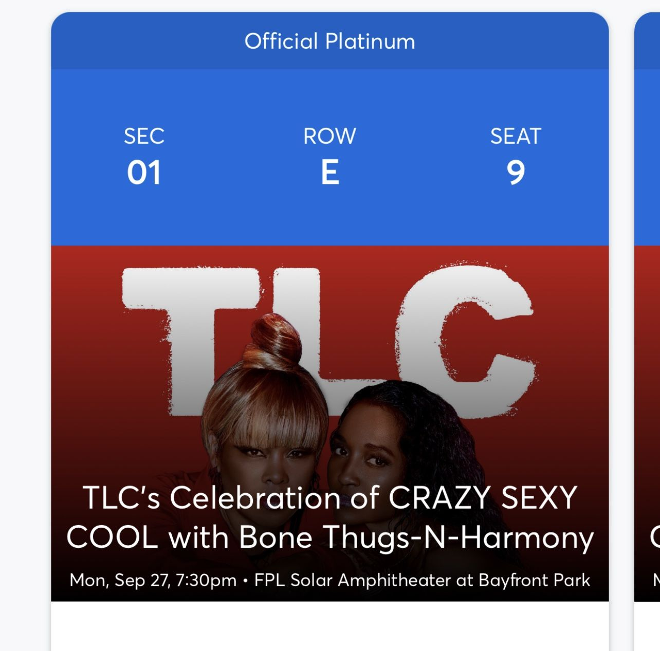 2 Tickets TLC for Sale