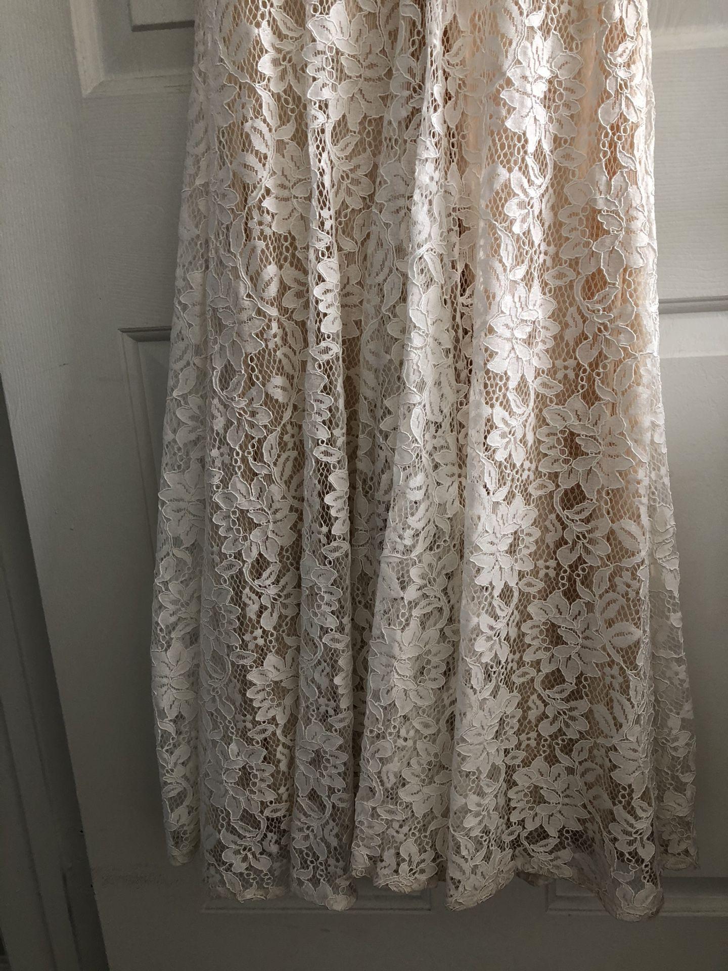 White Lace Short Sleeve Maxi Dress
