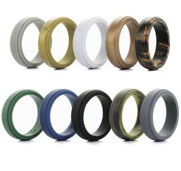 Silicone Wedding Ring for Men - 10 Pack - The Ultimate Silicone Wedding Band Rubber Wedding Ring Set Thumbnail