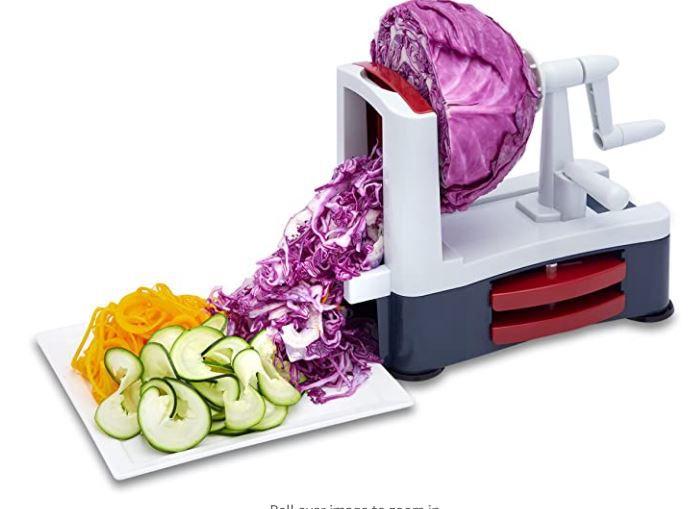 Vegetable Spiralizer - Perfect For Making Low Carb Gluten Free Paleo Vegan Meals - Best Vegetable Spaghetti Pasta Maker - Heavy Duty 3 Blade Slicer