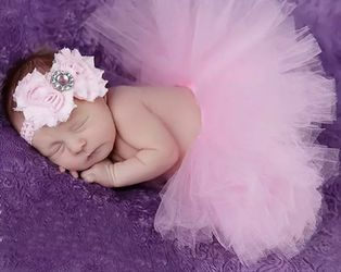 Size 0-3 months Baby Tutu Skirt With Matching Flower Headband Baby Photography Props Bow Girl Tulle Tutu Skirt And Hair Accessories Thumbnail