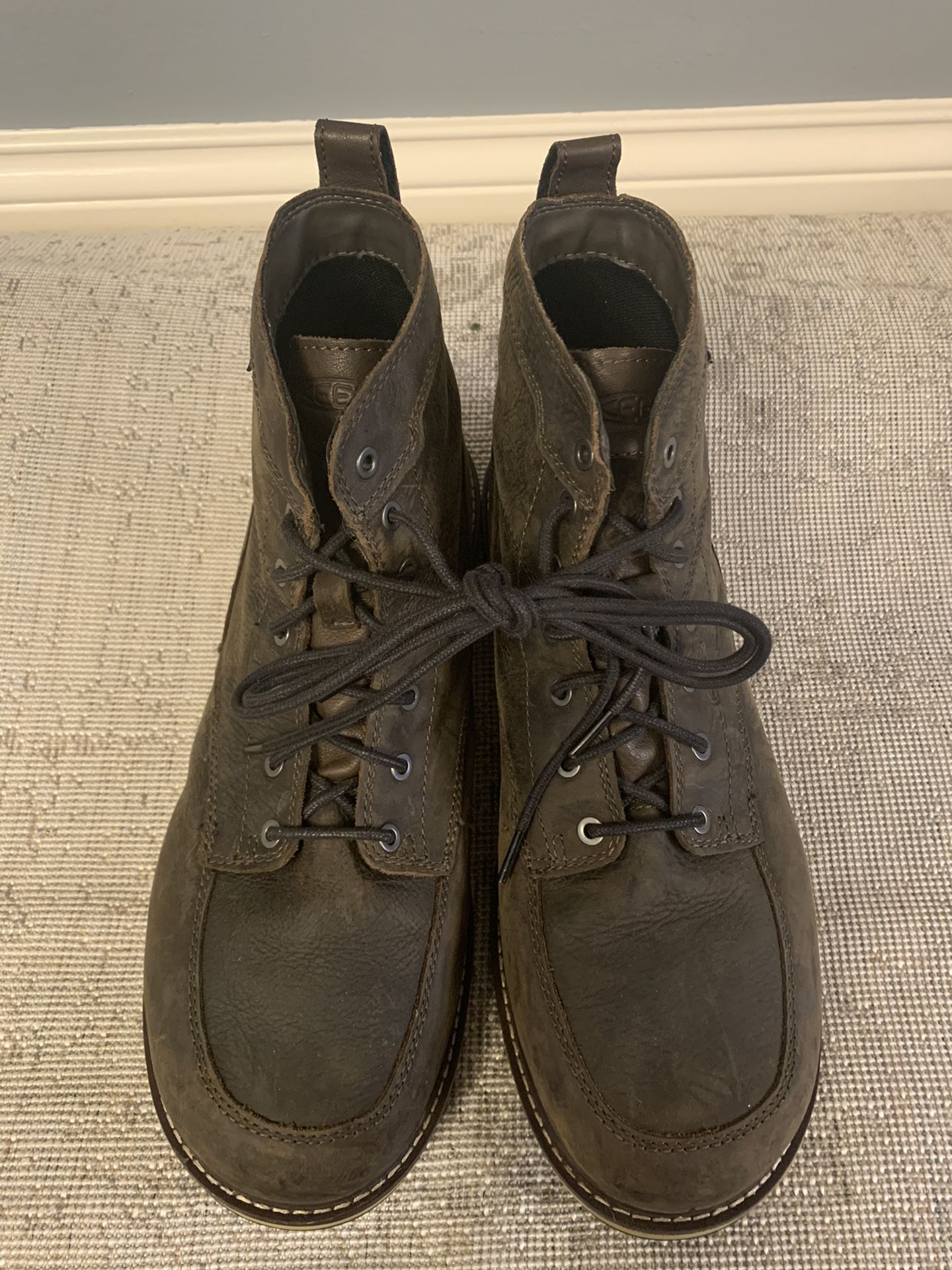 KEEN Utility San Jose Waterproof Aluminum Toe Work Boots For Men - Cascade Brown/Black - 14M