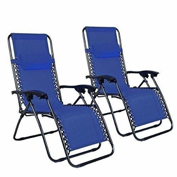 2pcs Plum Blossom Lock Portable Folding Chairs with Saucer Blue