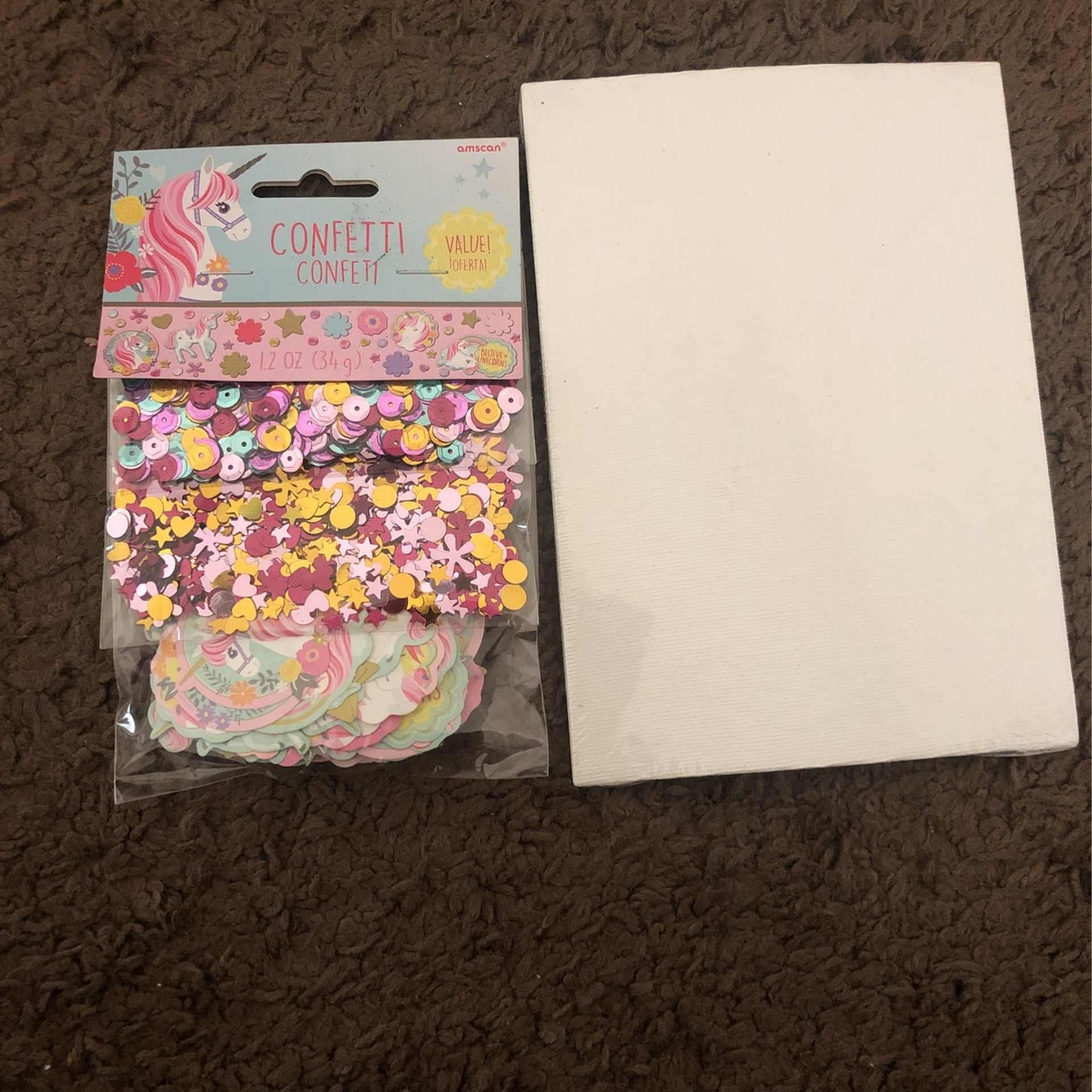 Three Diffrent Types Of Confetti And Mint Paint Canvass