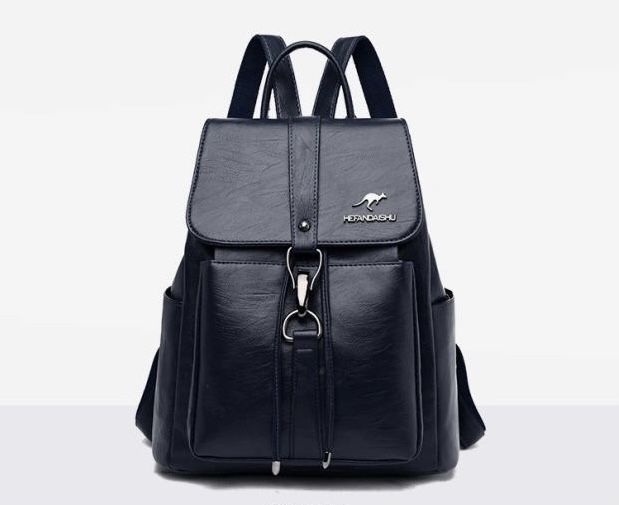 Navy blue  Brand new 2021 genuine leather ladies casual all-match soft leather backpack
