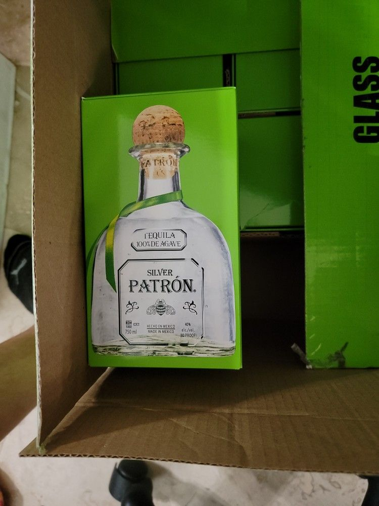 Tequila Silver Patron EMPTY Glass Bottles - Qty 11