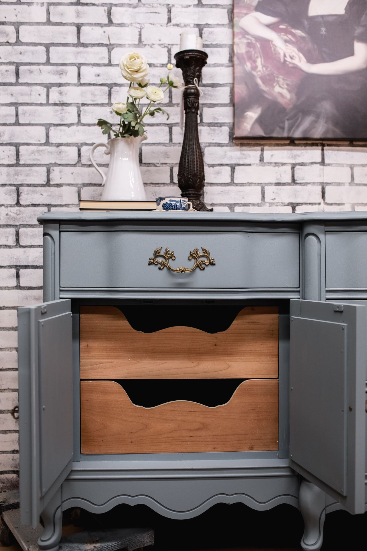 Gorgeous French Provincial Blue And Wood Dresser