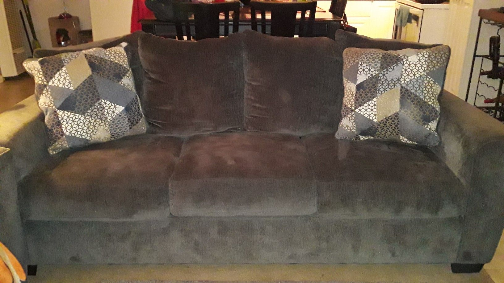 Sofa, Loveseat, and Table