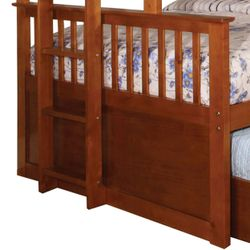 Saltoro Sherpi Bunk Bed with Attached Side Ladder, Brown Thumbnail