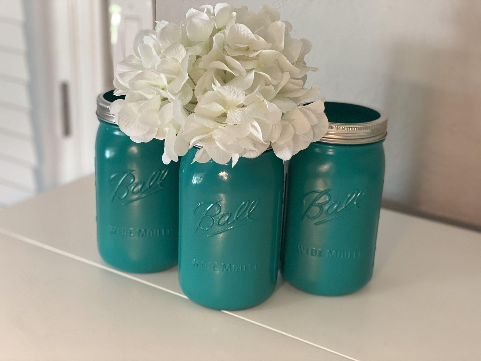 Set of three hand painted mason jars