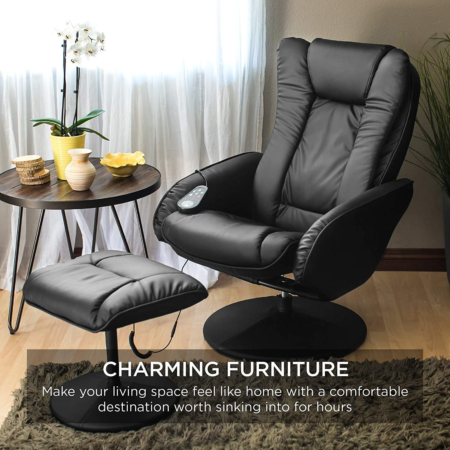 Electric Massage Recliner Chair with Stool Ottoman, Leather, Black
