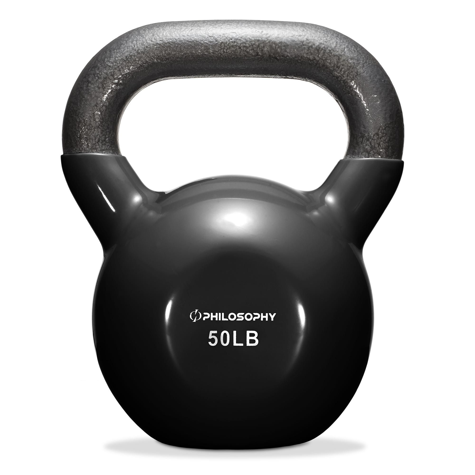 Philosophy Gym Vinyl Coated Cast Iron Kettlebell Weight 50 lbs - Black