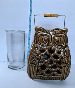 Owl Lantern, Ceramic Glass Piller Candle Holder, New Thumbnail