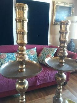 Pair Of Antique Brass  Candle Holders  Thumbnail