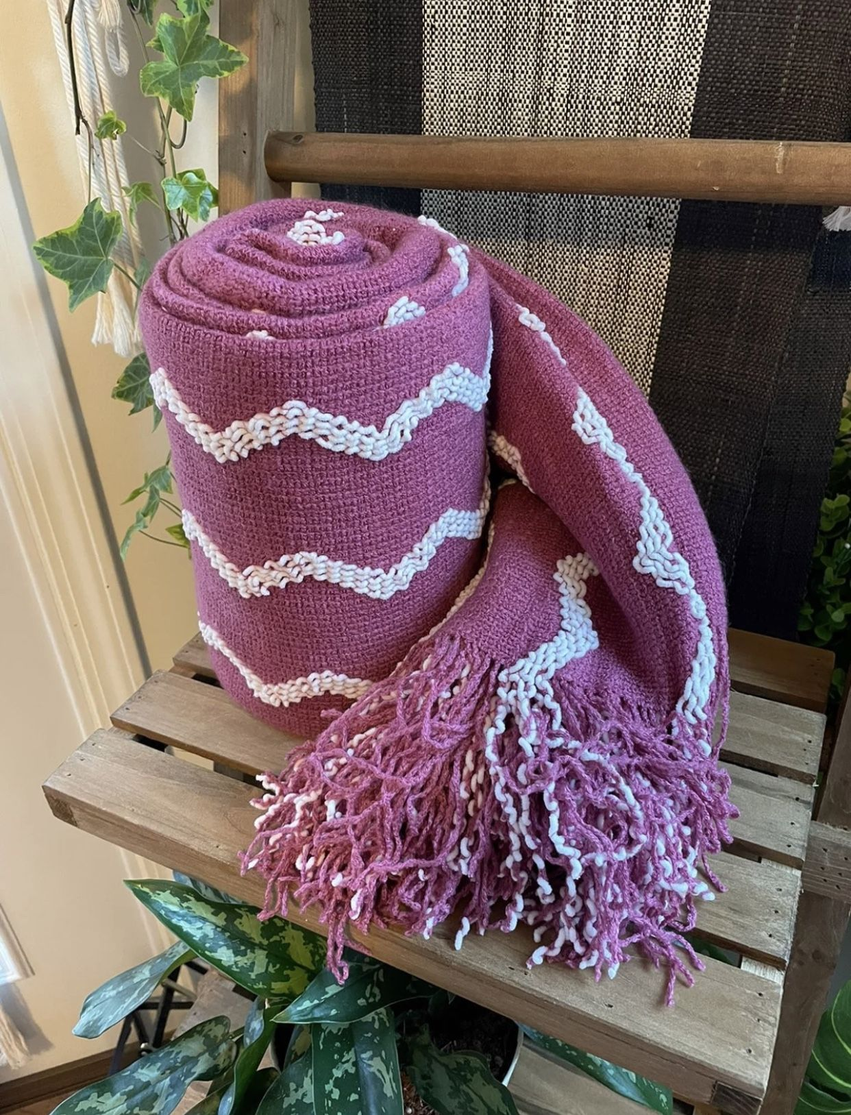 """Fluffy Chenille Knitted Fringe Throw Blanket Lightweight Soft Cozy for Bed Sofa Chair Throw Blankets ,   Deep Purple 60""""x80""""  60""""x80"""" 【ULTRA-SOFT PLUS"""
