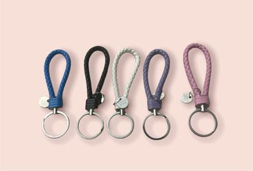 Leather Keychain Key Chain Ring Home Keyring Car Keychains for Women and Men Thumbnail