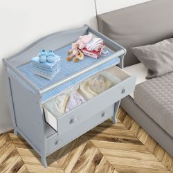 Costway 3-Drawer Dresser Changing Table w/Safety Belt Guardrails for Kids' Room Thumbnail