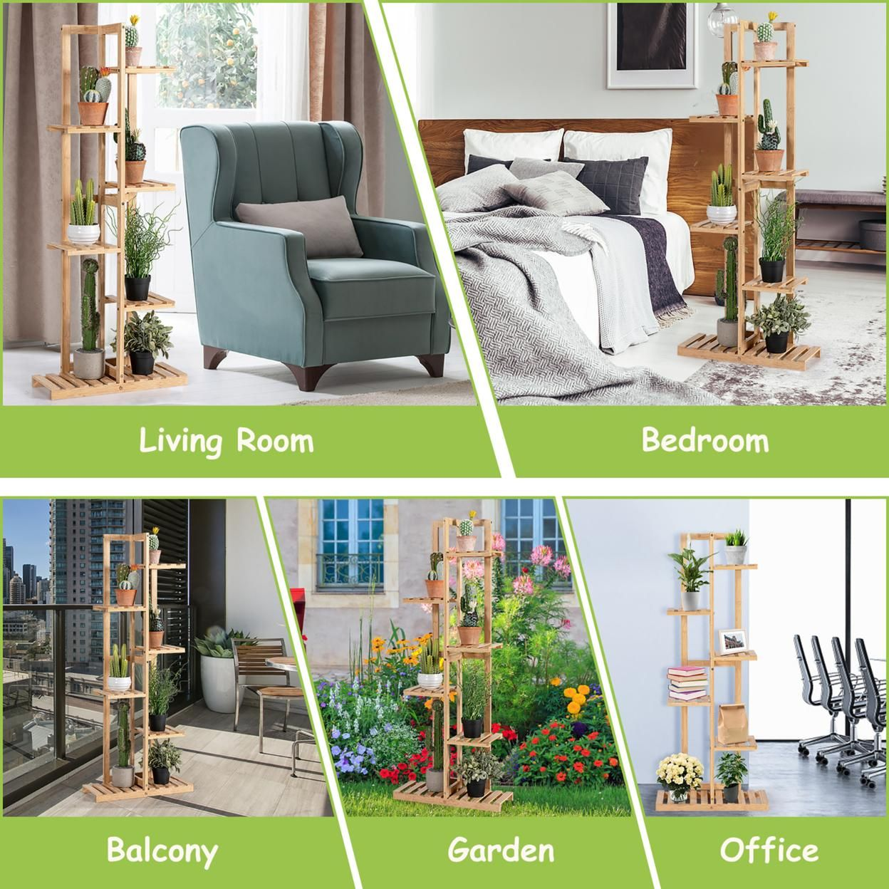 Costway 6 Tier 7 Potted Plant Stand Rack Bamboo Display Shelf for Patio Yard