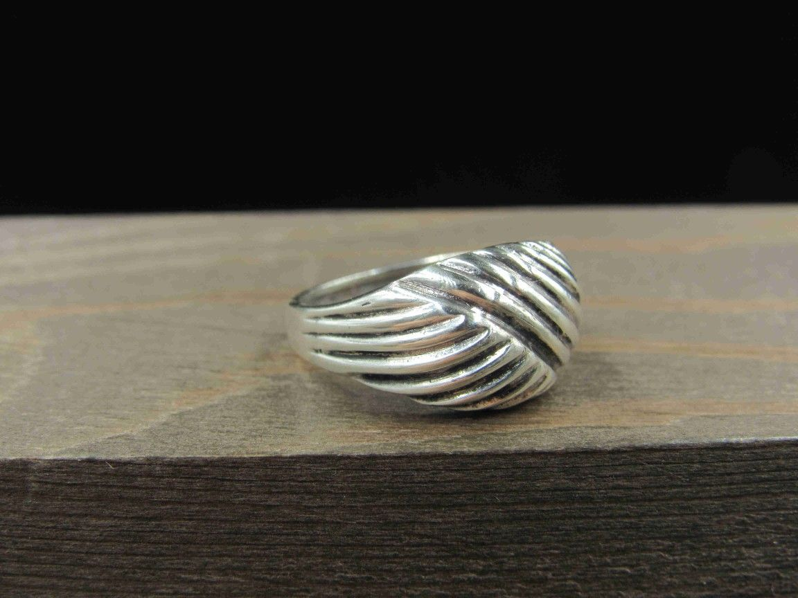 Size 6.5 Sterling Silver Weird Dome Style Band Ring Vintage Statement Engagement Wedding Promise Anniversary Bridal Cocktail Friendship