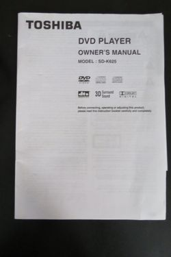 Toshiba 5 Disc DVD player with Remote AV Cord and Owner's Manual Thumbnail