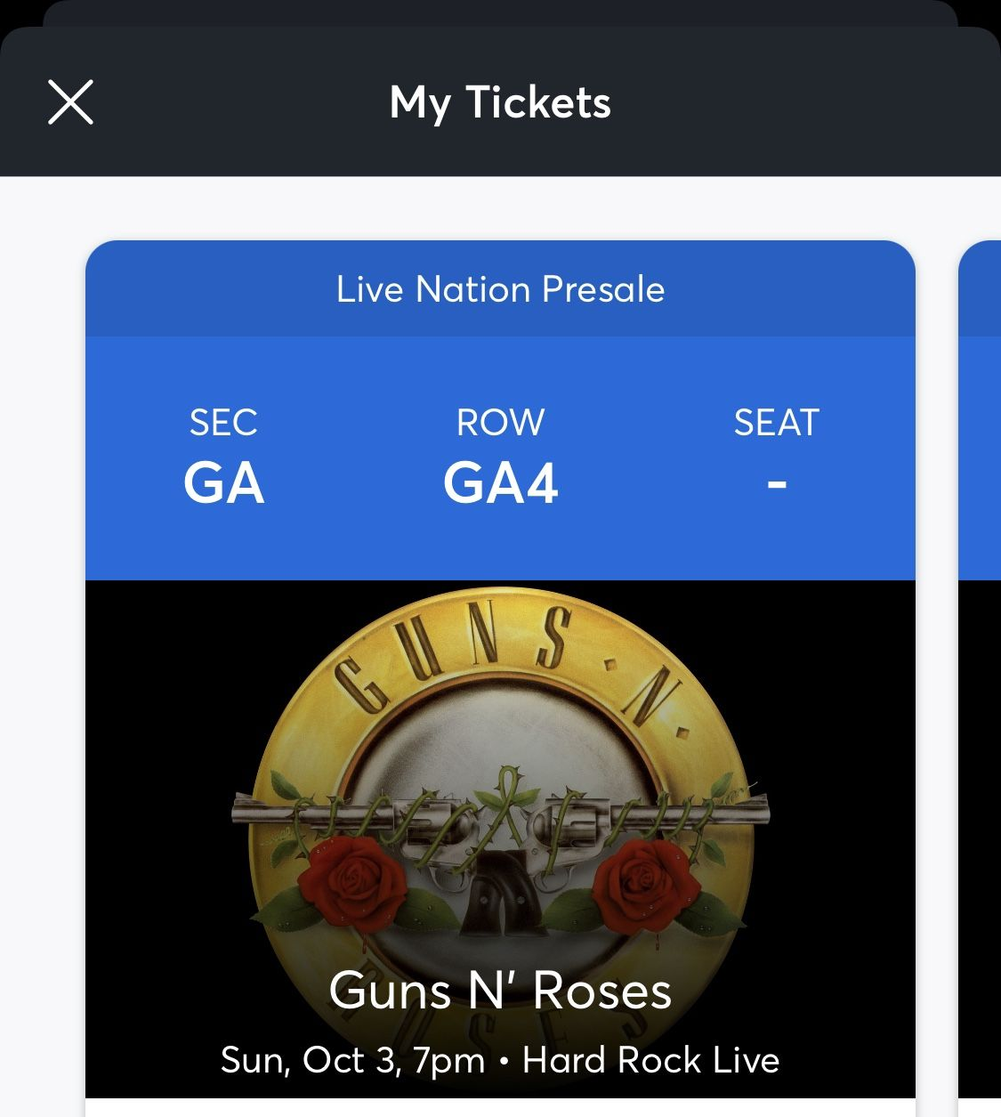 1 Or 2 Tickets For Guns N Roses Sunday