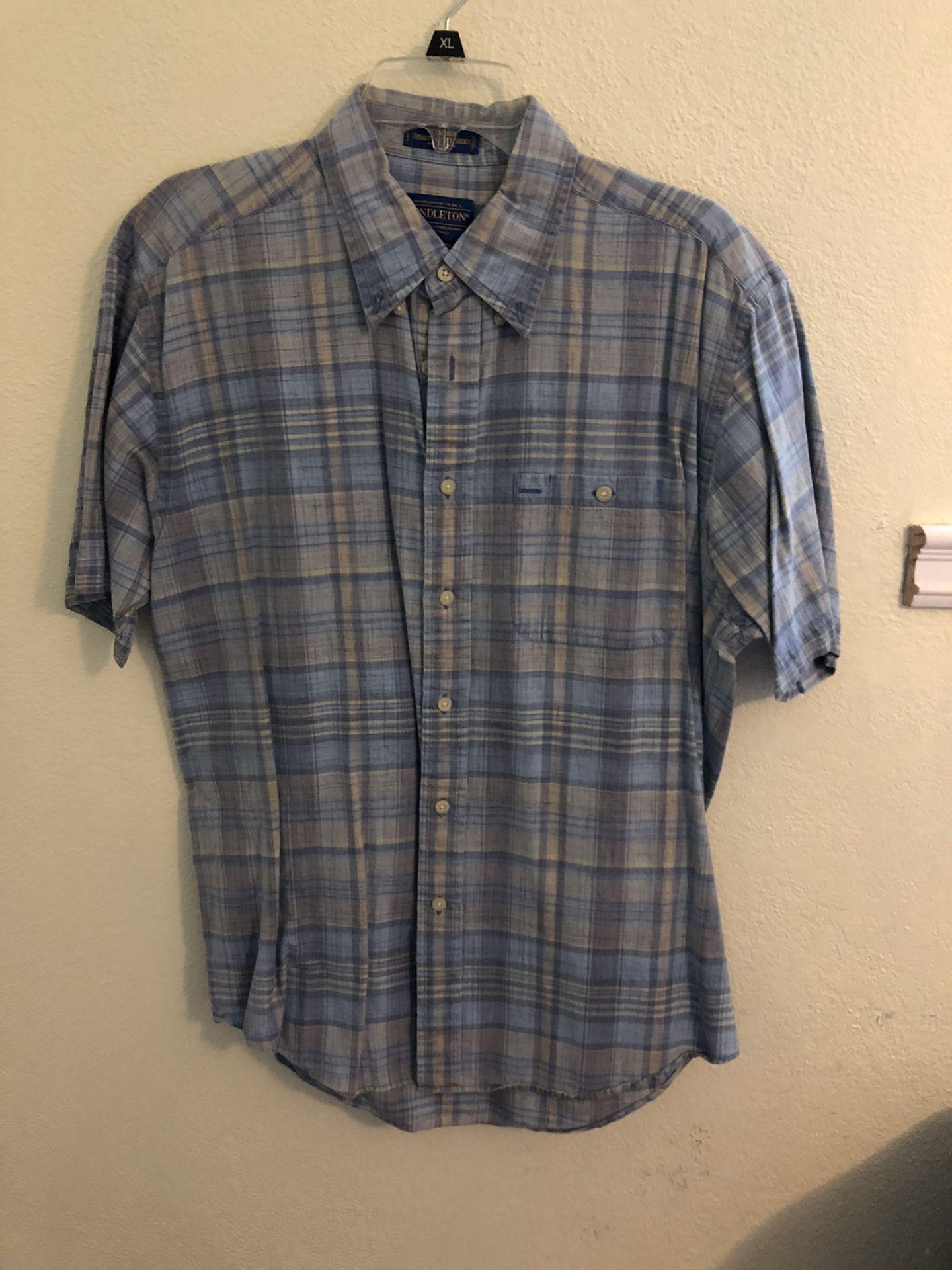 Pendleton Board Shirt // Button Up // Pocket T Shirt // Plaid // Dress // Sunday // Relaxed // Church // Work // Skateboards // Baby Blue // Vintage