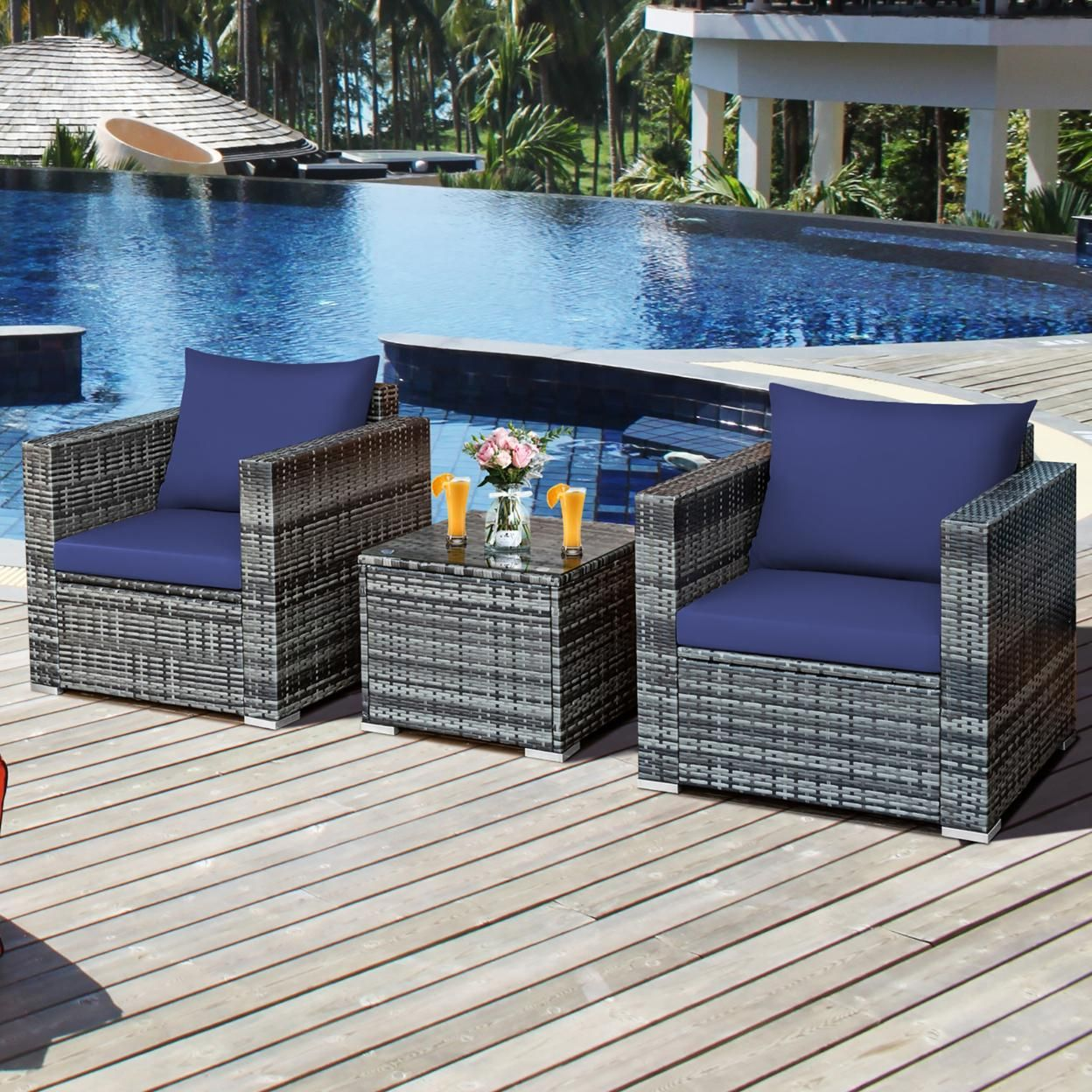 Costway 3 PC Patio Rattan Furniture Bistro Set Cushioned Sofa Chair Table White\Navy