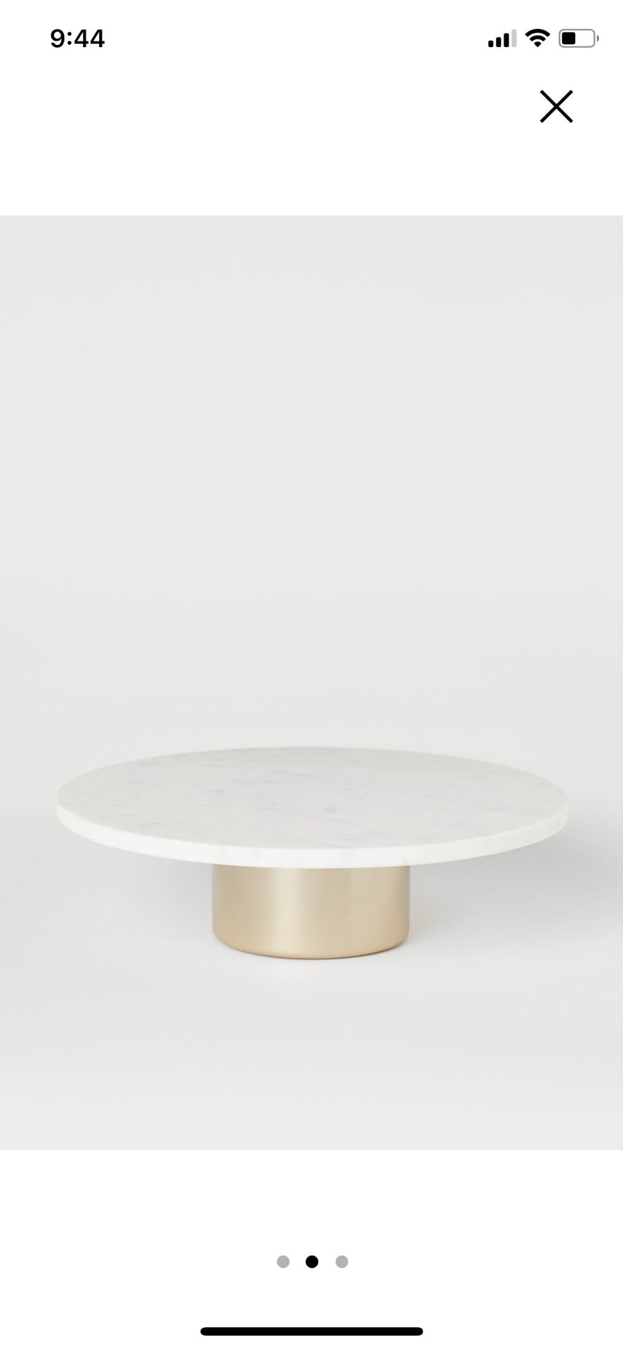 """Gold and Marble Cake Stand 11"""" Diameter"""