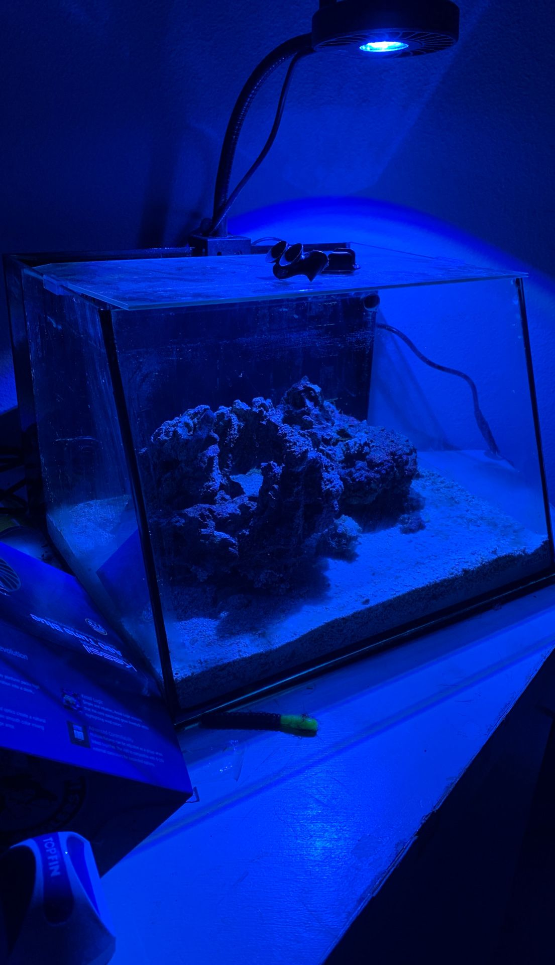 7.5 gallon slanted nano aquarium.