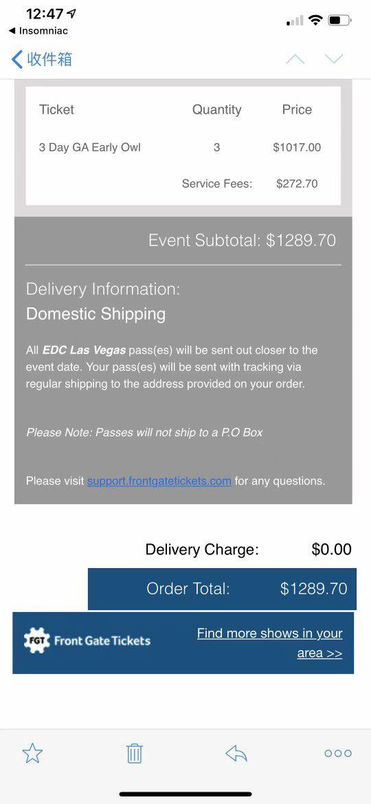 Vegas 3 Days GA Tickets. $300 Each