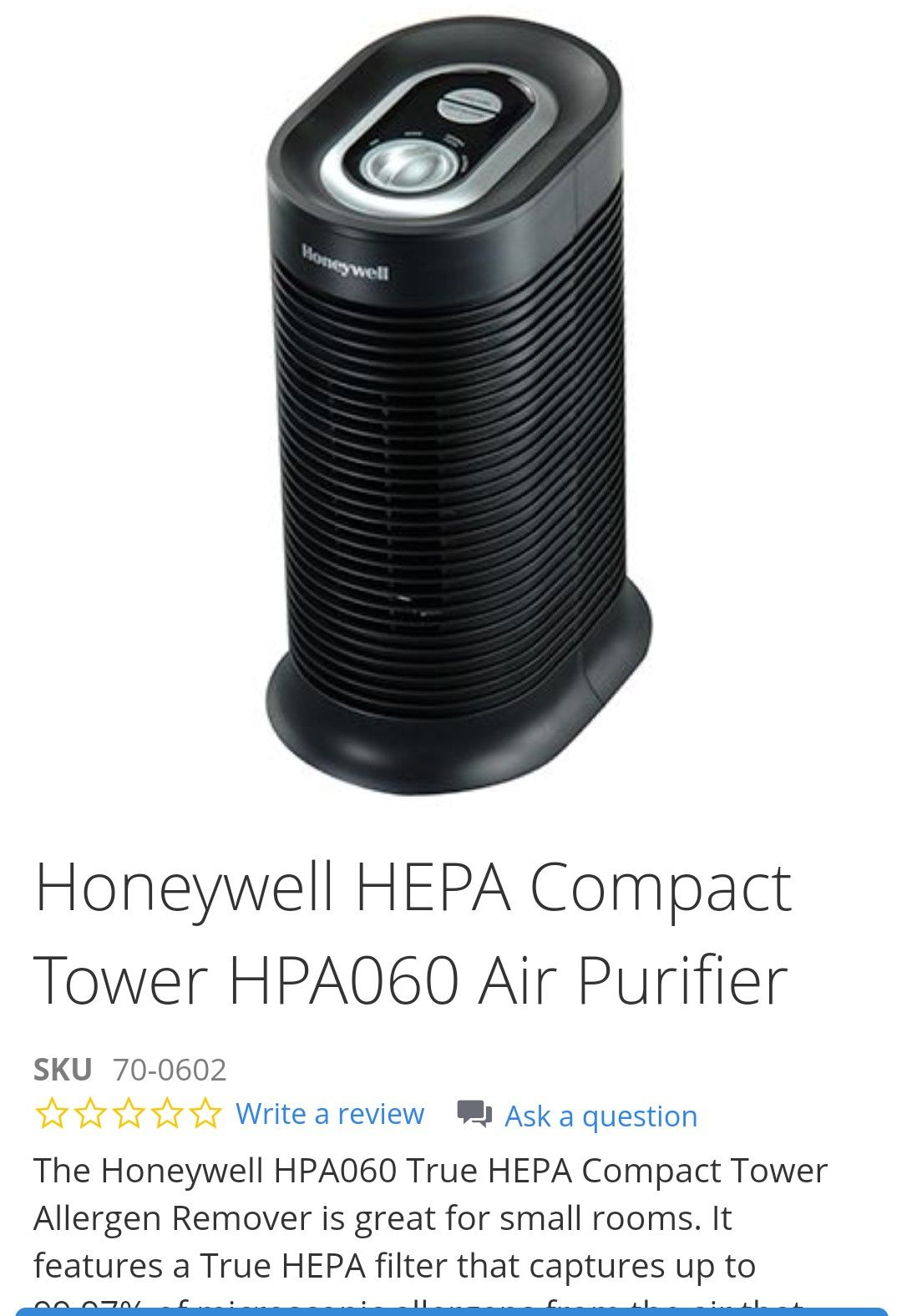 Honeywell Compact Tower Air Purifier (Got 2 of these msg if want both)